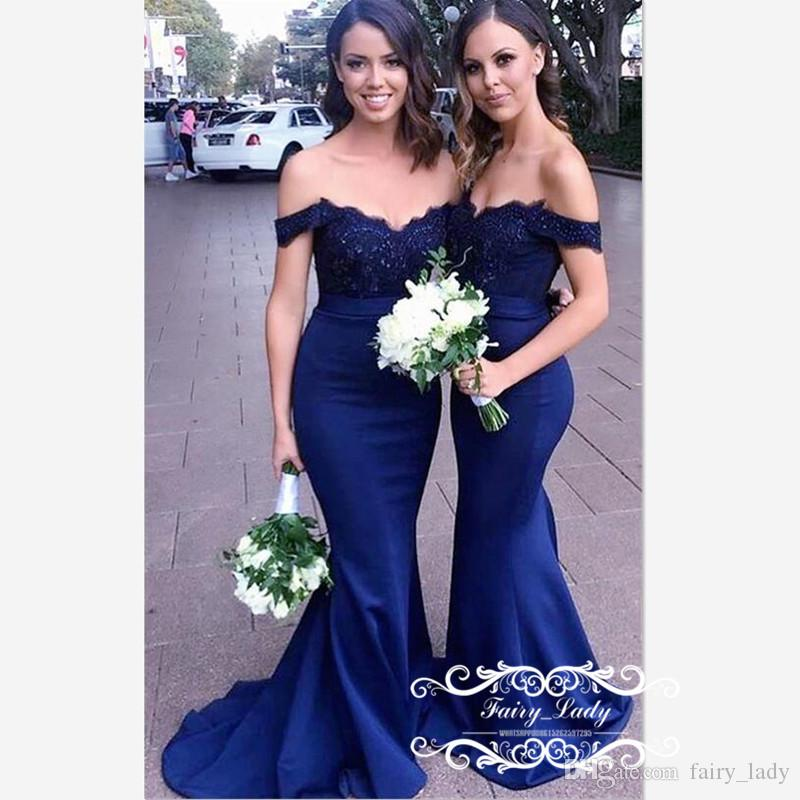 Royal Blue Off Shoulder Bridesmaid Dresses For Women 2019 Lace Top and Satin Skirt Long Mermaid Maid Of Honor Dress Party Gown