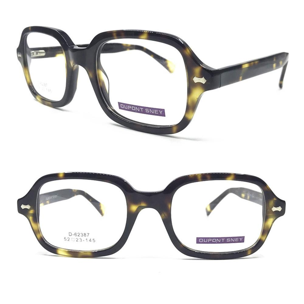 a67ec3b5db5 2019 Vintage Acetate Tortoise Spring Hinges Eyeglass Frames Square Full Rim  Myopia Rx Able Glasses Hand Made Optical Brand New From Taihangshan