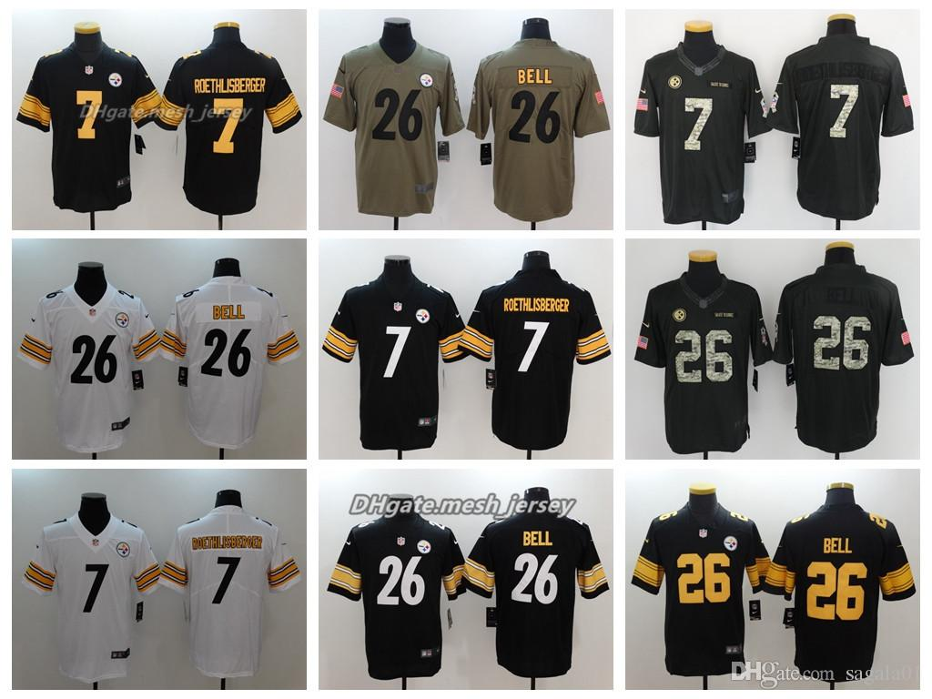 brand new 461cc 7582e 2018 Men Pittsburgh Jersey Steelers 83 Heath Miller 26 Le'Veon Bell 7 Ben  Roethlisberger Color Rush Football Stitching Jerseys
