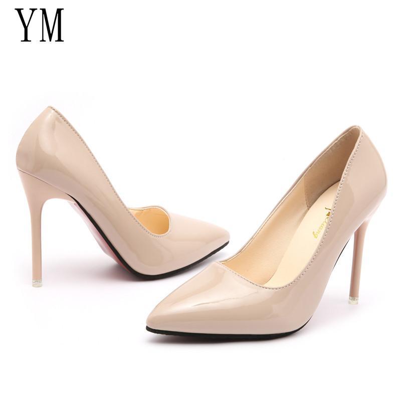 ec6f34d766a2e Compre 2019 Dama Sexy Zapatos De Mujer Punta Estrecha Bombas Patente  Vestido De Tacones Altos Zapatos De Barco Zapatos De Boda Zapatos Mujer  Blanco Azul ...