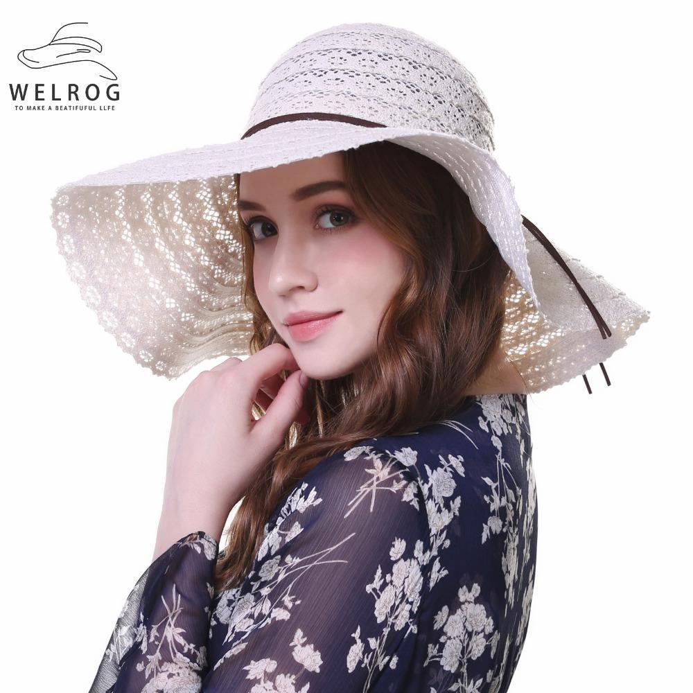 7153e7d7a0a771 WELROW Summer Large Brim Hollow Straw Hat Floppy Wide Brim Sun Cap ...