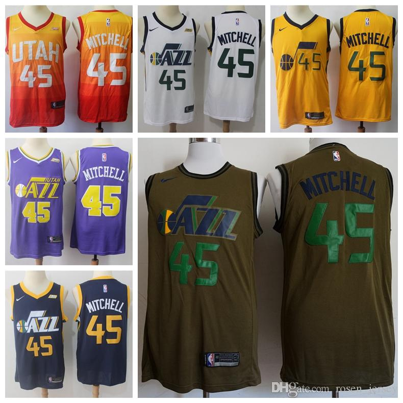 outlet store 5718a 14c34 2019 New The City Edition Orange 45 Donovan Mitchell Jersey Stitched Mens  Utah Jazz Donovan Mitchell Basketball Jerseys Yellow Purple White