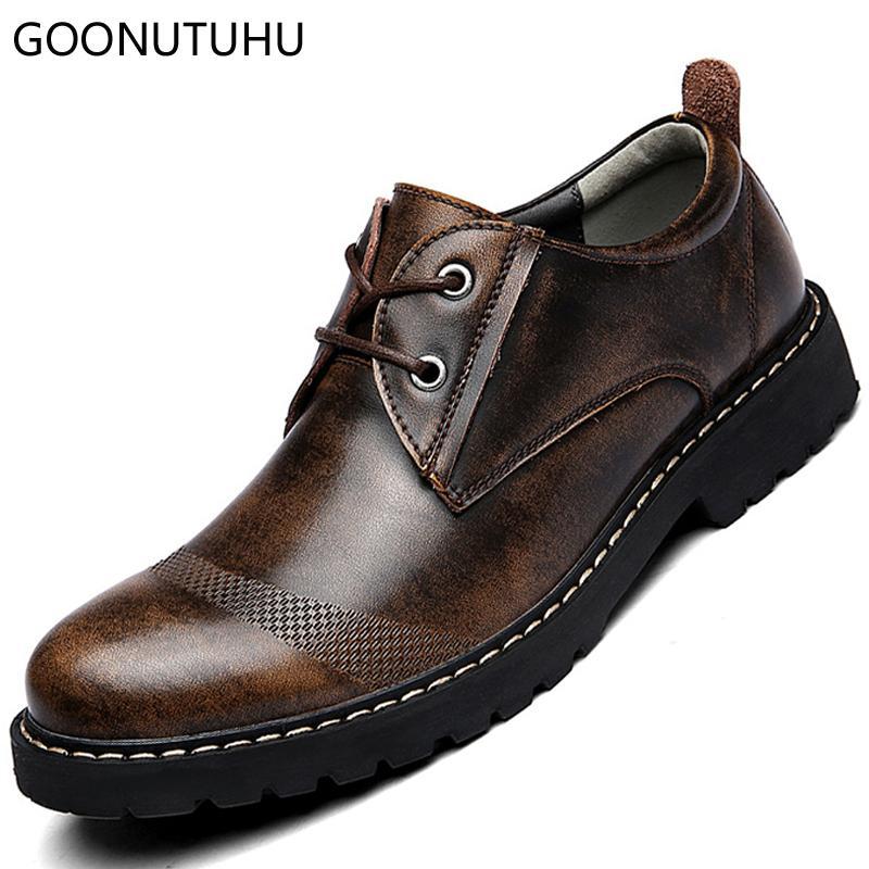 36fa3d42ae6 Compre Zapatos De Moda Para Hombre Casual De Cuero Primavera Otoño  Transpirable Con Cordones De Zapatos Para Hombre Suela Gruesa Zapatos De  Trabajo A Prueba ...
