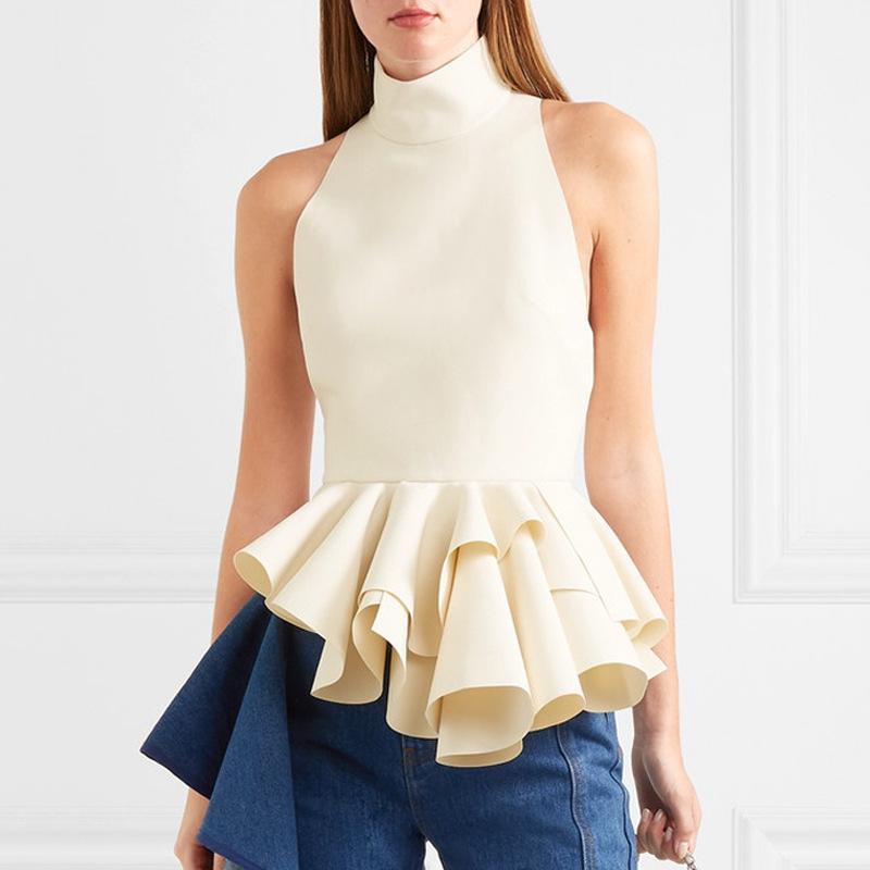 dcad7aa686 2019 Ruffles Peplum Women Blouse Turtleneck Tank Tops 2019 Spring Summer  Evening Party Blusa Shirts Sleeveless Chemise Femme Clothing From  Nancypeng422