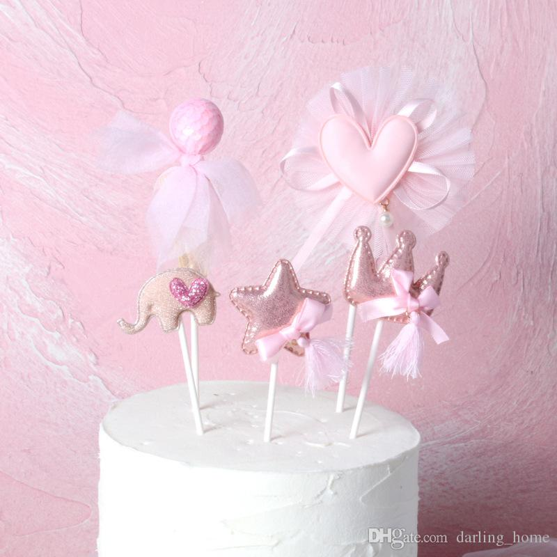 Fairy 6 Styles Pink Pattern Cupcake Topper Wedding Decoration Centerpieces Kitchen Accessories Home Decor Birthday Party Supplies