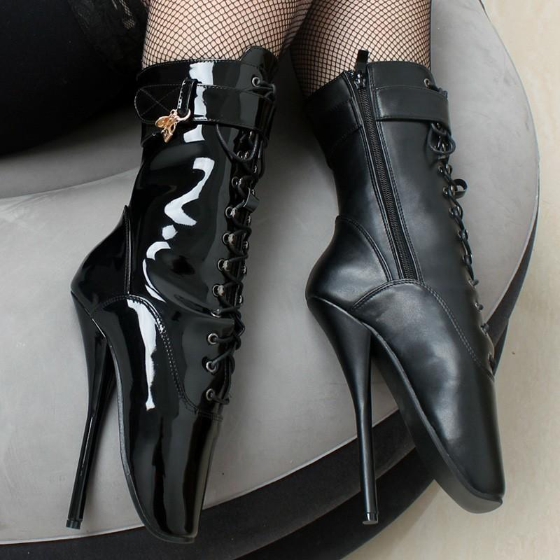 f7b43f7e48c 7 Spike High Heel BALLET Black lace up Mid-calf Boots Fetish ballet boots  plus size 36-46