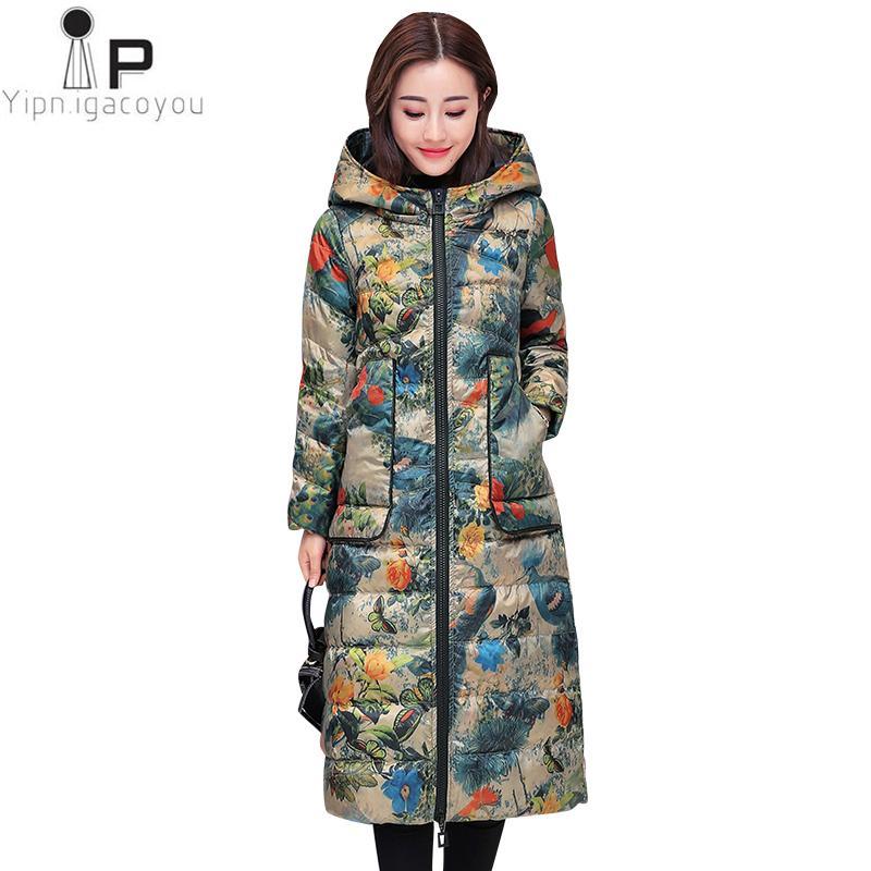 2930f8b3e8268 2019 Autumn Duck Down Coat Long Women Hooded Winter Plus Size Print Down  Jacket Korean Thick Warm Coats Fashion Women Parka 4XL From Workwell