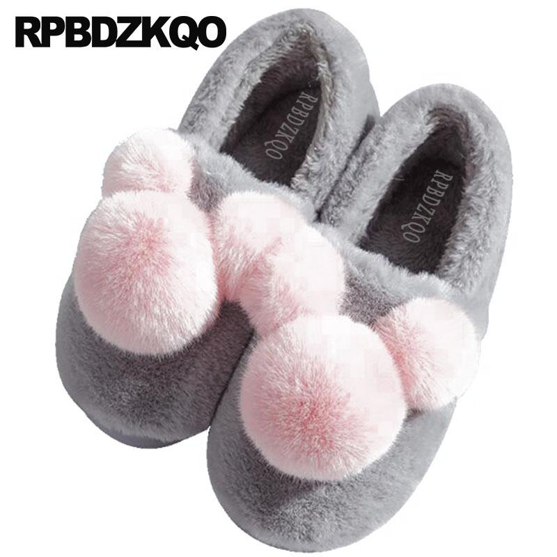 b0c925b3c02eb Fur House Floor Fuzzy Plus Size Bedroom Footwear Women Plush Pom Big Fluffy  Wide Fit Shoes Ladies Flat Large Winter Funny Korean Suede Boots Black  Boots For ...
