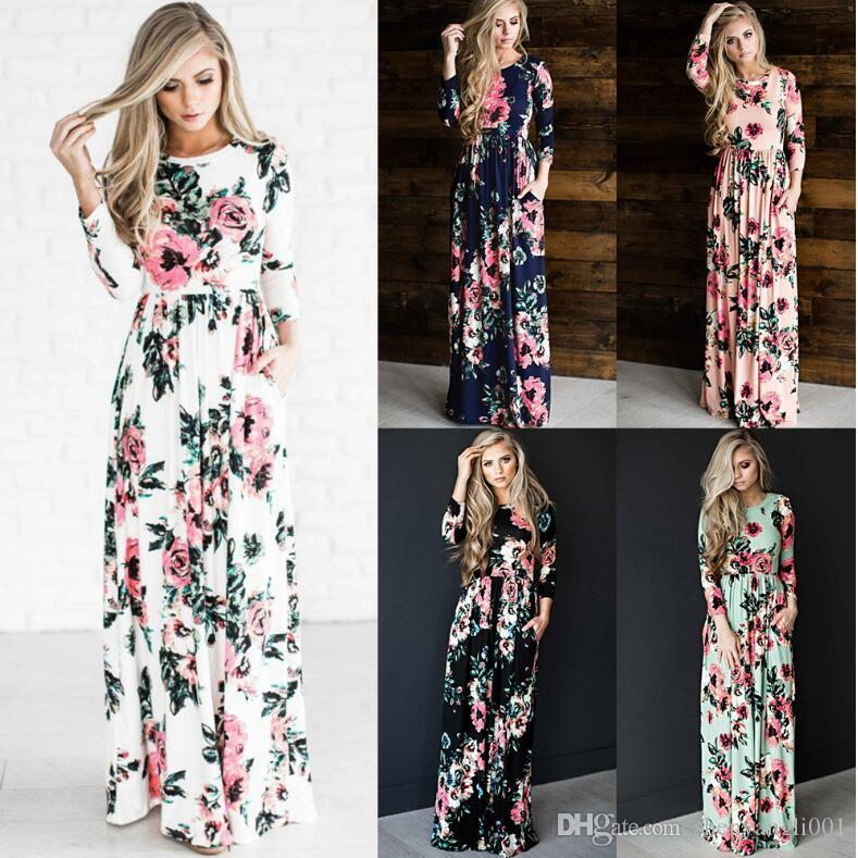 e337ab123d Europe station 2018 summer new large size women's dress European and  American printed dress women beach dress
