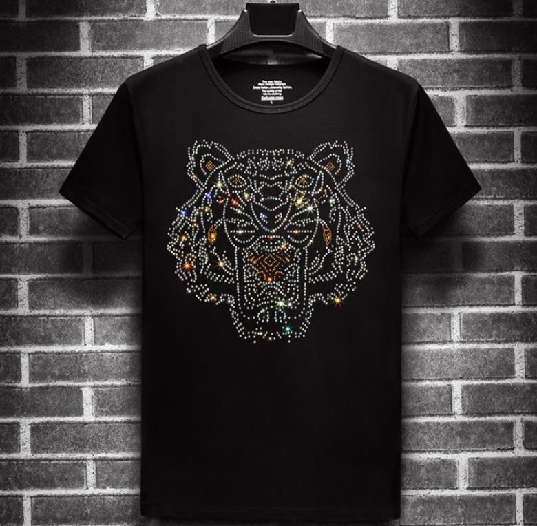 Mens Tiger Printed Tshirts Summer Head Rhinestone Design Short Sleeved Tees