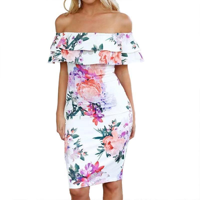 cecc6d0b07a Sexy Ruffle Off Shoulder 2019 Summer Women Lace Up Floral Print Knee Length  Dress Casual Beach Boho Dresses Female Vestidos Designer Evening Dresses  Short ...
