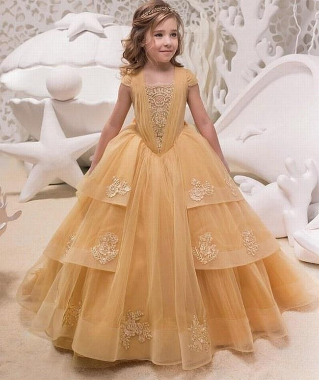New Toddler Kids Baby Girl Flying Sleeve Tulle Party Bridesmaid Pageant Dress
