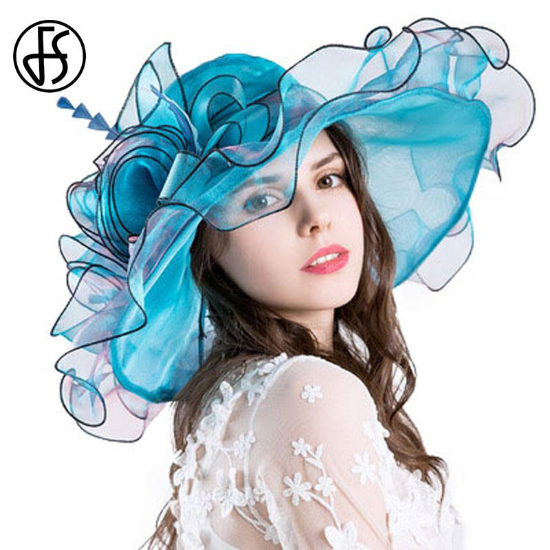 93441d0e4 wholesale Sun Hats For Women Fashion Elegant Organza Church Hat Summer Wide  Brim Beach Floral Sombrero Chapeu Feminino