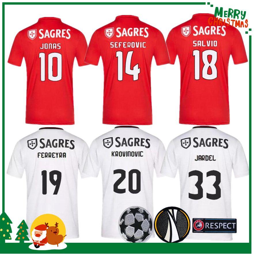 buy popular bf7b0 e8d2f 2019 SL Benfica Soccer Jersey Tshirt JOÃO FÉLIX Home Football Shirt JONAS  T-shirt 19 20 PIZZI Adult Shirts Camisa Camiseta Maillot