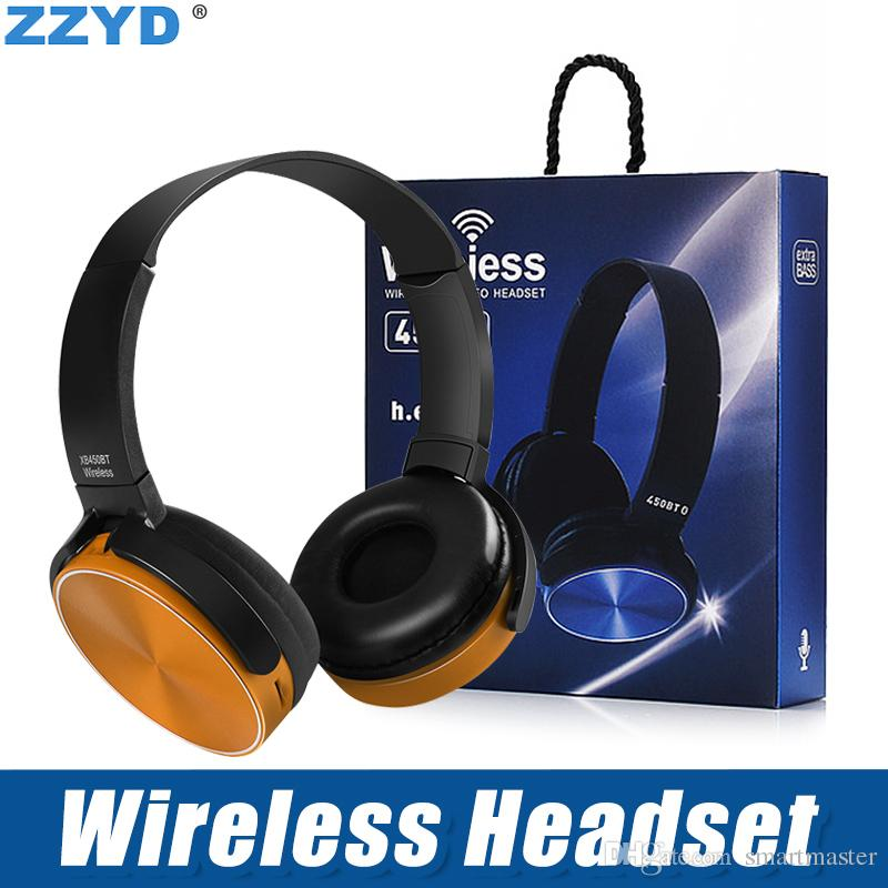 ZZYD 450BT Wireless Headphones Bluetooth Gaming Headset Stereo Music Player Retractable Headband Surround Stereo Earphone with Mic For PC Sm