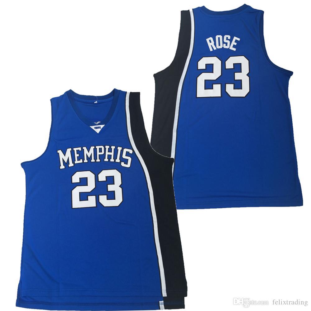 sale retailer 7793d b400f #23 Derrick Rose Jersey Memphis Tigers Jersey College Basketball Jerseys  Men S to XXL Free Shipping