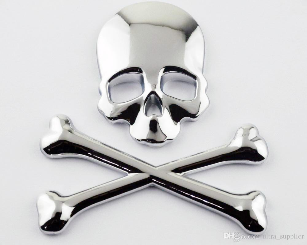 Motorcycle chrome metal 3d skull bone gas tank fairing decal sticker cars with a t emblem cars with logos from ultra supplier 11 56 dhgate com