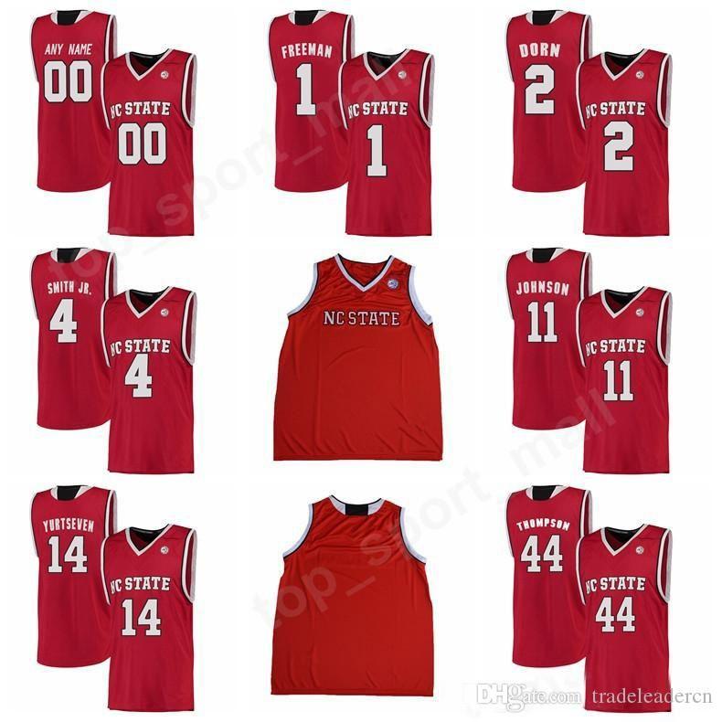 the best attitude f4550 8511b Custom College 4 Dennis Smith Jr Jersey NC State Wolfpack Basketball 2  Torin Dorn 1 Lennard Freeman Jersey Red White 44 David Thompson