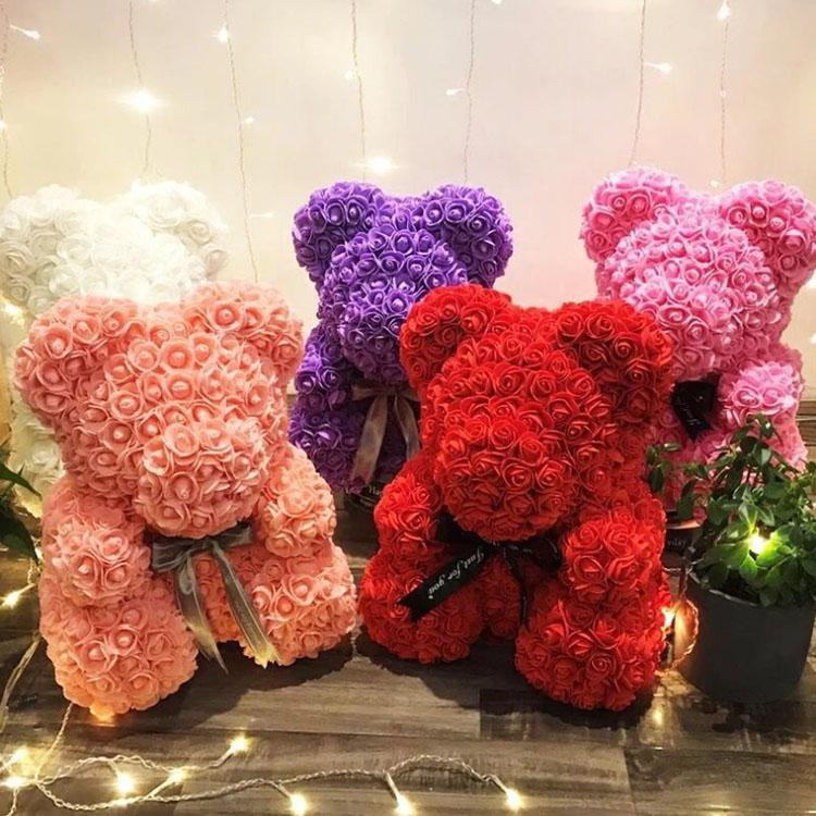 PE Plastic Artificial Flowers Rose Teddy Bear Multicolor Foam Rose Flower Bear Valentine's Day Gift Birthday Party Spring Decoration