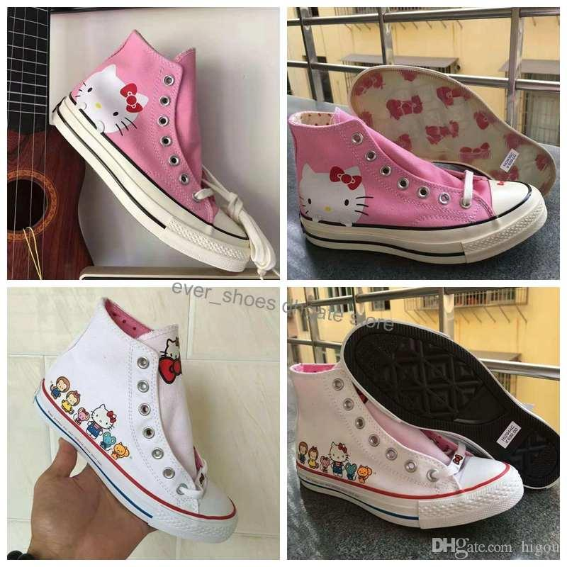 2019 New Converse Chuck Taylor All Star Hello Casual Kitty Cat Shoes For Men Women High Top Designer White Pick Sneakers