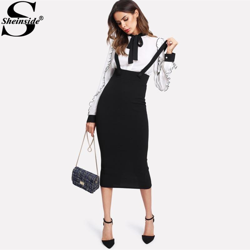 f4559aac8ba7 Sheinside High Waist Slit Back Pencil Skirt With Strap Black Knee Length  Plain Zipper Skirt Women Elegant Spring Midi Skirt C19012101 Women Dress  Style ...