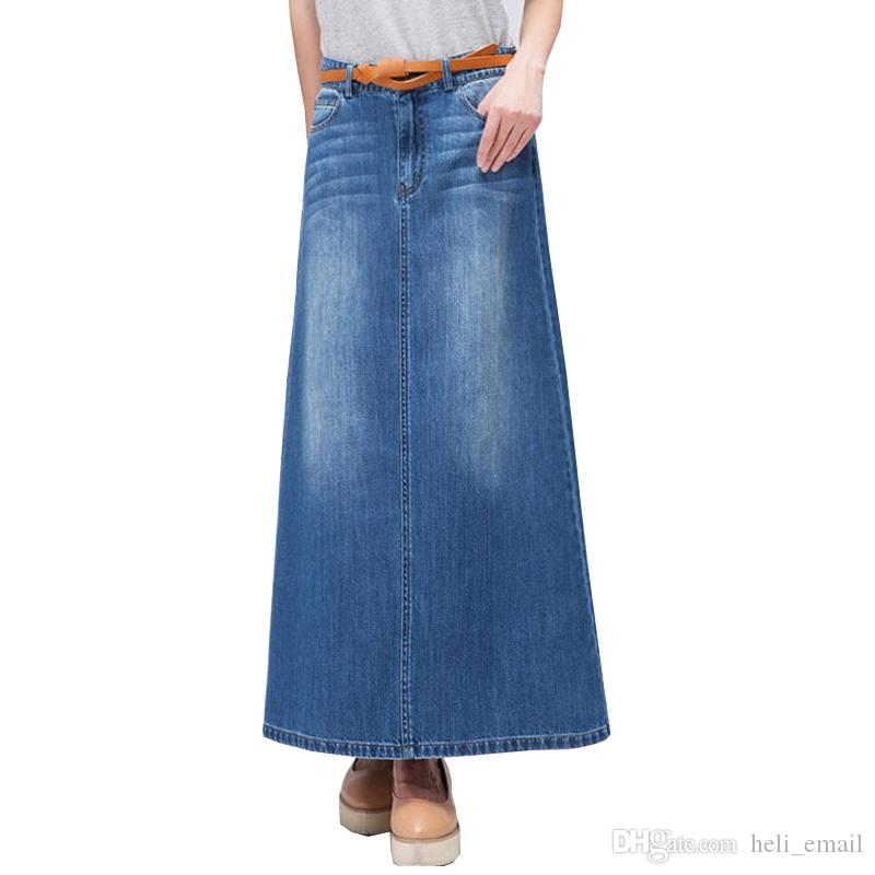14d557438 2019 2019 Spring And Autumn Casual Fashion High Waist A Line Jeans Woman  Skirt Female Slim Maxi Long Denim Skirts Womens From Heli_email, $27.14 |  DHgate.