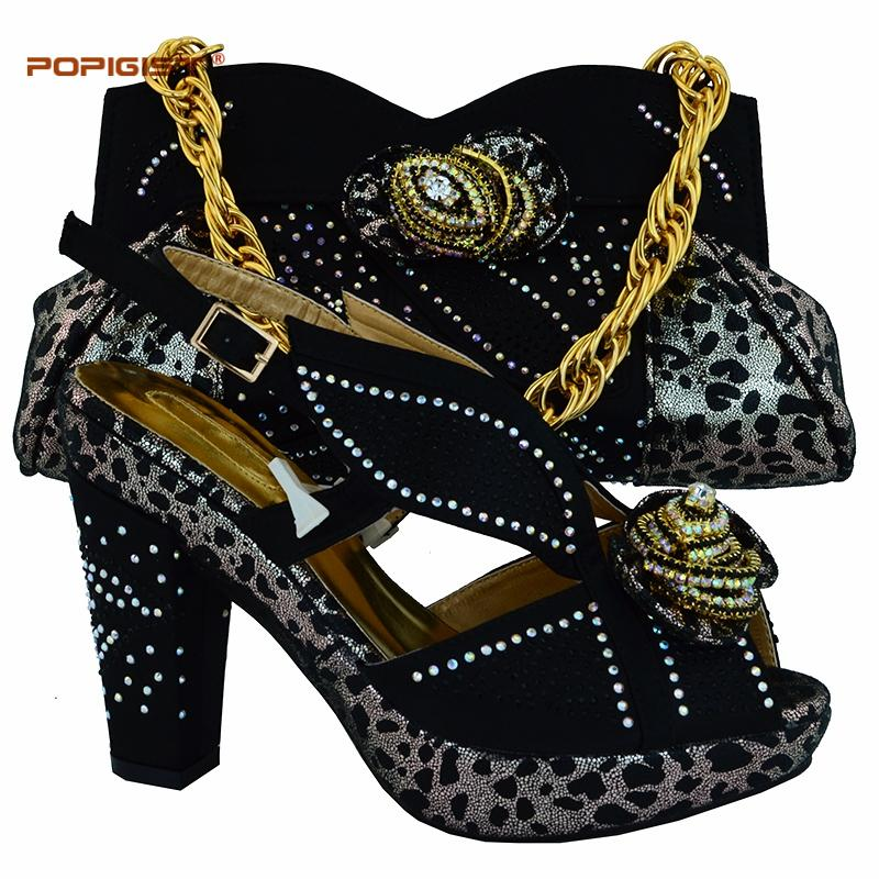 lowest price a418f 7bc6d Plattform Sandale Schuhe italienische Schuhe und Taschen passenden Set in  Hochzeit und Party schwarz Farbe hohe Qualität und schneller Versand