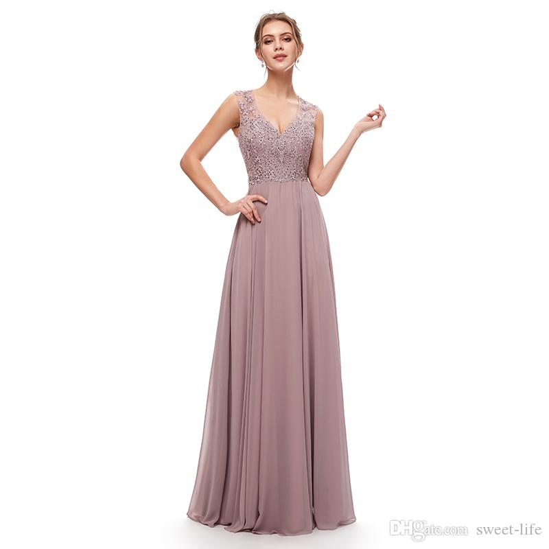 Mauve Elegant A-Line Lace Chiffon Bridesmaid Dress Special Occasion Long Formal Evening Dresses Maxi Gown 5309