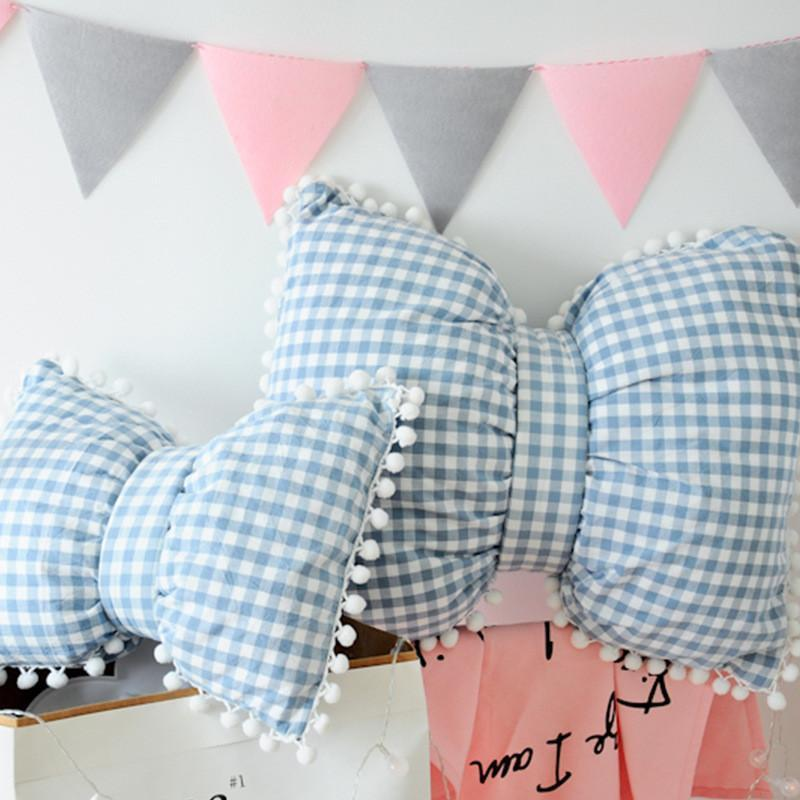 Sofa Cushion Big Pillow Striped Lattice Pillow Bow Tie Pillow INS New Products Sofa Bedroom Cotton Remove Wash Down Cotton Soft