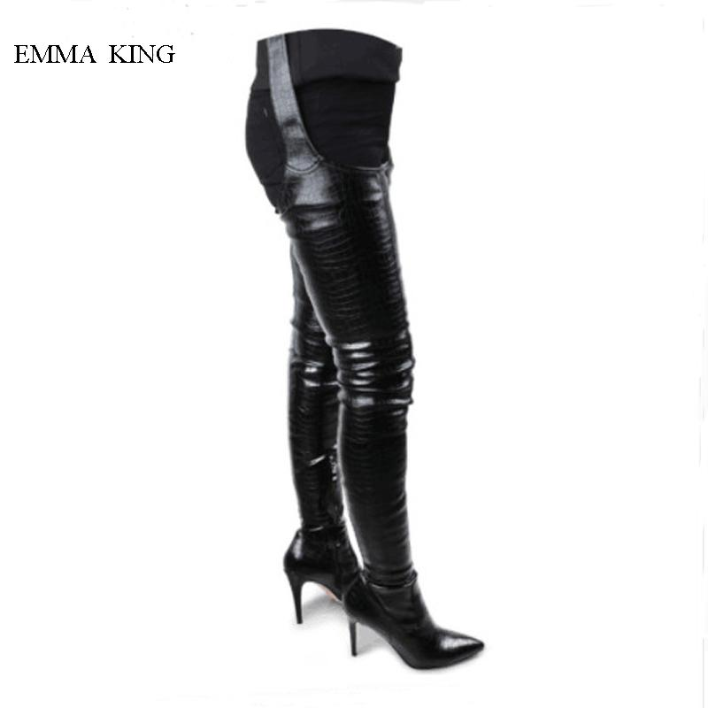 a7f4a26180843 2019 Black Waist Belt Over Knee Boots Women Sexy Pointed Toe Thigh High  Long Boots Spring Autumn Fashion Thin Heels Shoes Woman Red Boots High Heel  Boots ...
