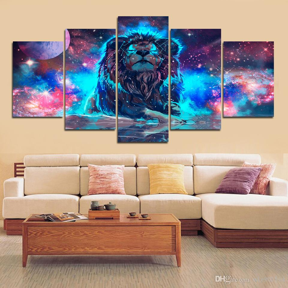 2019 wall art decor painting canvas prints paintings color abstract nebula lion constellation poster pictures living room no frame from wlz900514