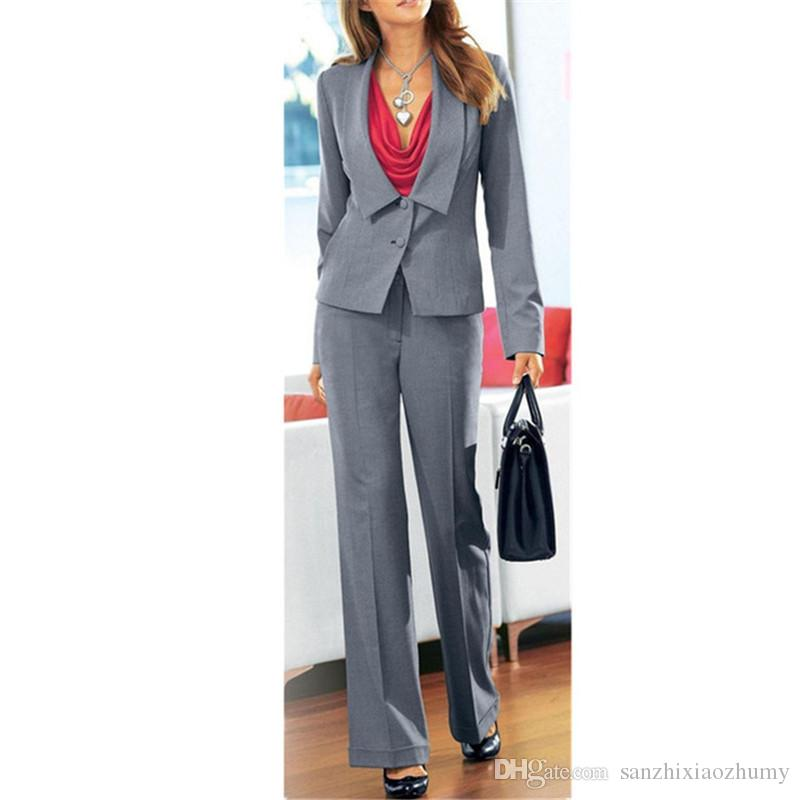women professional suits Grey Women Ladies Business Office Tuxedos 2 Piece Jacket+Pants Work Wear Suits