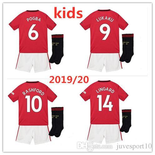 newest 3ee83 7484c 19 20 Kinder POGBA LUKAKU RASHFORD Fußballtrikot 2019 Kinderfußballtrikot  MATA MARTIAL LINGARD Fußballtrikot Kinder-Trikot