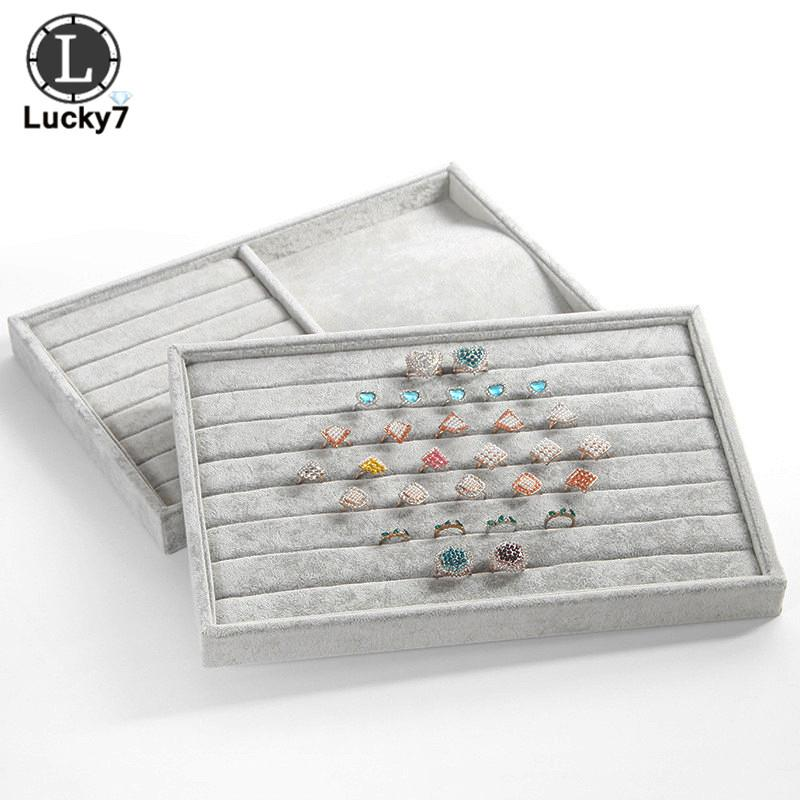 Gray Velvet Jewelry Display Tray for Necklace Pendant Organizer Box Wooden Flat Stackable Tray Holder Storage Showcase