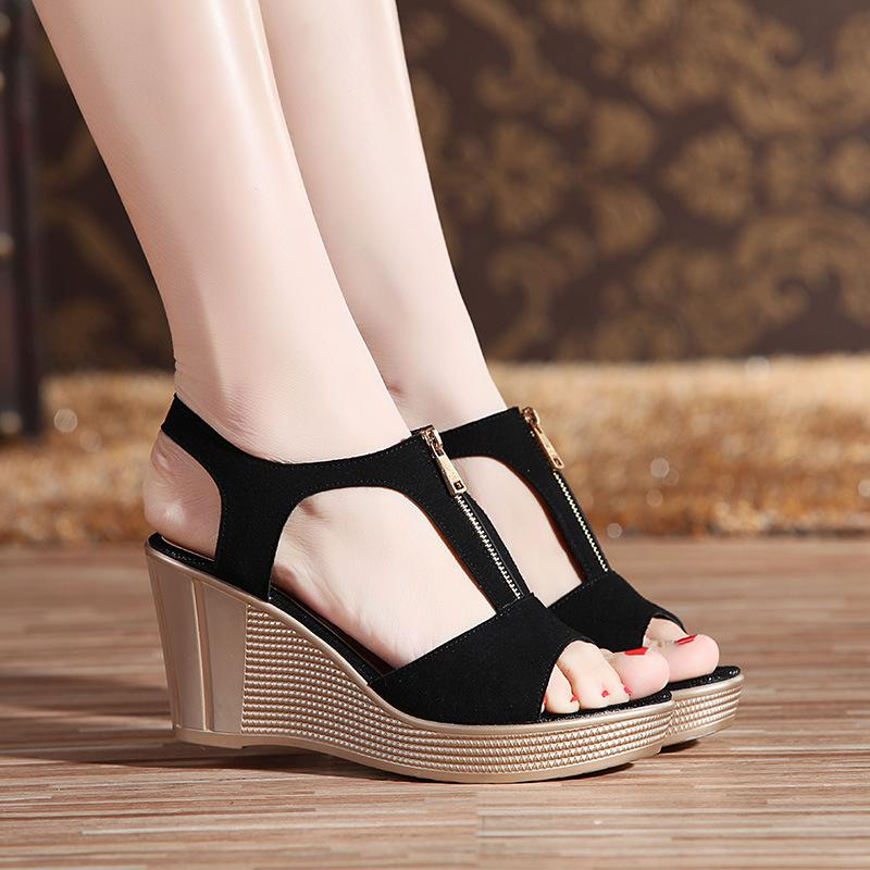 a90df184c7b5 LAKESHI Women Sandals Platform Chunky Heels Women Shoes Wedges Sandals  Summer Open Toe Ladies Shoes Plus Size 35 43 Sandals For Men Jelly Sandals  From ...