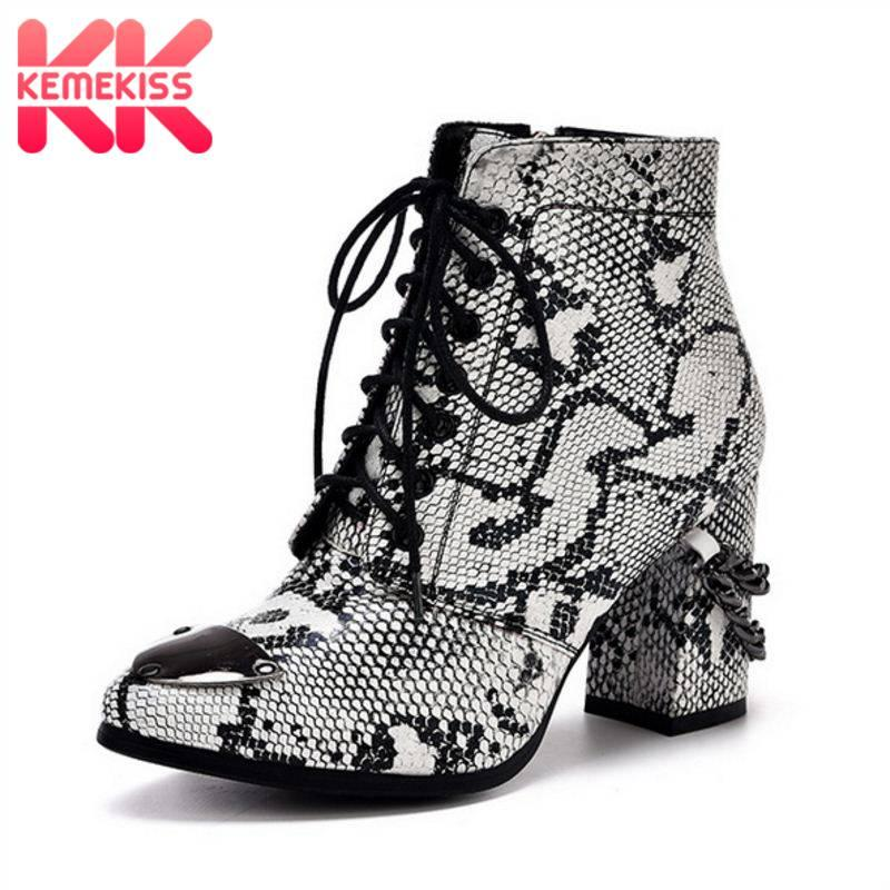 528d746870 KemeKiss Women Sexy Snakeskin Pattern Ankle Boots Cross Trap Chain Night  Club Party Shoes Women Dating Fur Warm Boots Size 33 42 Men Boots Red Boots  From ...