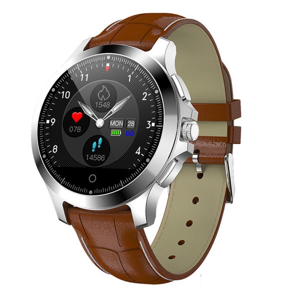 W8 Smart Watch ECG PPG Heart Rate Monitor Fitness Tracker Wristwatch IP67  Waterproof Smart Band Men Smartwatch Leather Watch