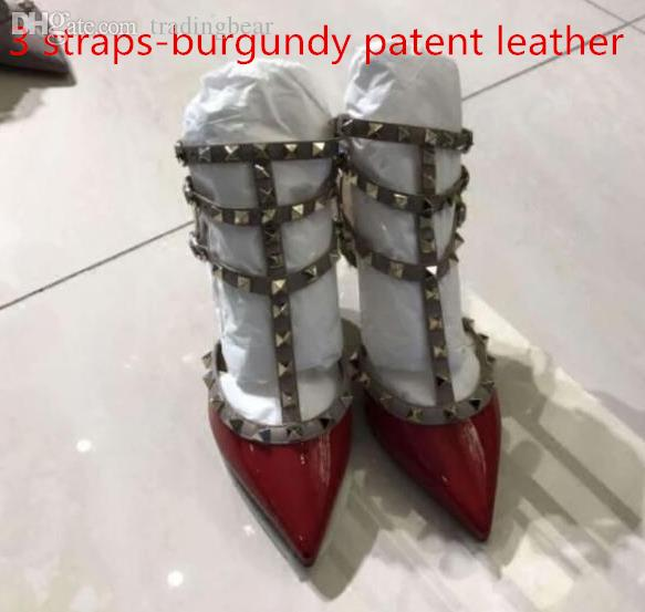 with box multi colors fashion rivets designer pumps red pointed toe stiletto heel dress shoes bridal wedding shoes Size 34 to 42 tradingbear