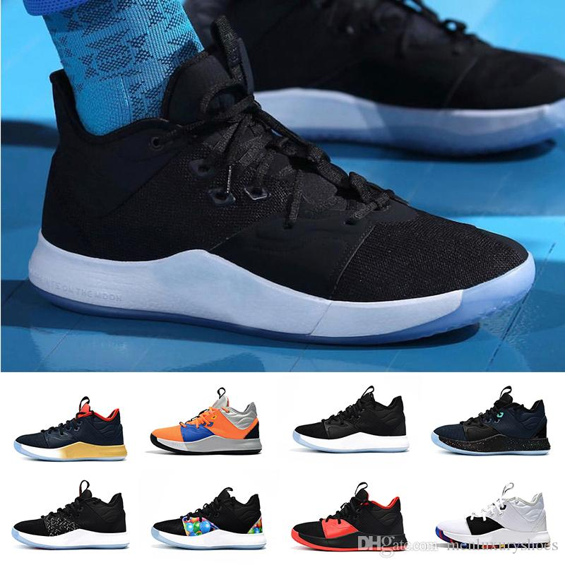 21587704000 Wholesale 2019 PG 3 3S III P.G NASA Black White Basketball Shoes PG3 Starry  Blue Orange Outdoor Sports Sneakers Size 40 46 Basketballs Shoes Mens From  ...