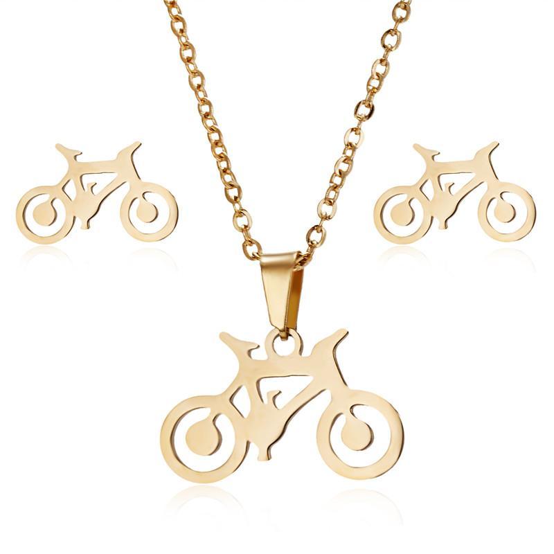 2138708c25b5 Compre Collar Punky Collares De Bicicleta Aretes Conjuntos De Cadenas De  Eslabones Para Mujeres Hombres Collares Joyería De Moda De Acero Inoxidable  ...
