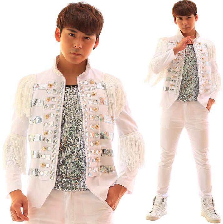 Fringed diamond sequins clothes men suits designs stage costumes for singers jacket men blazer dance star style dress punk