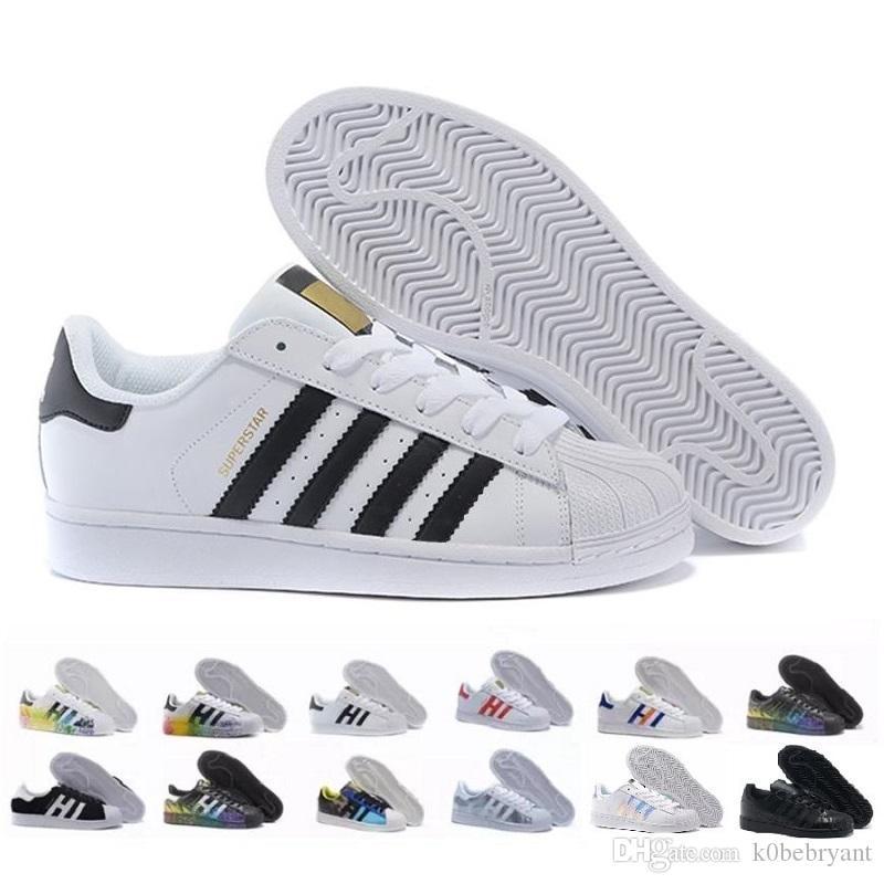 2019 Nuevas originales Adidas Superestrellas zapatos Negro Blanco Oro Holograma Junior Superstars 80s Pride Sneakers Super Star Barato Mujer Hombre