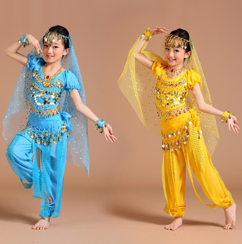 7e2a8593 2019 Belly Dance Costume Children Bollywood Dance Costumes Set Indian  Bollywood Kids Dresses Headpieces Veil Top Belt Skirt From Fangfen, $34.17  | DHgate.