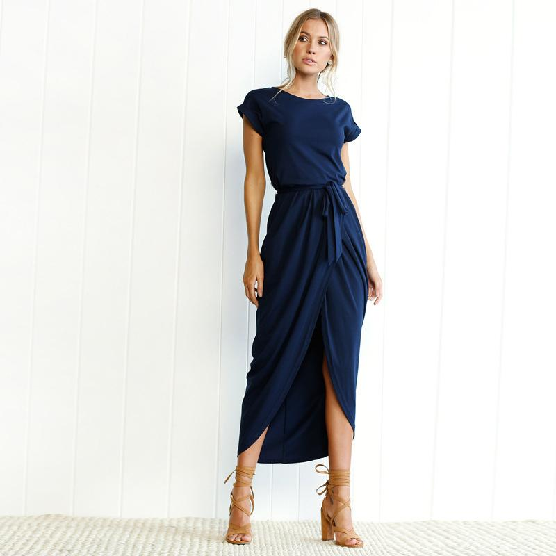 50899c14ddc 2019 2018 Summer Bohemia Beach Loose Dress Casual O Neck Sort Sleeved Hem  Slit Long Dresses Elegant Belt Slim Blue Green Vestidos Y19012201 From  Tao02