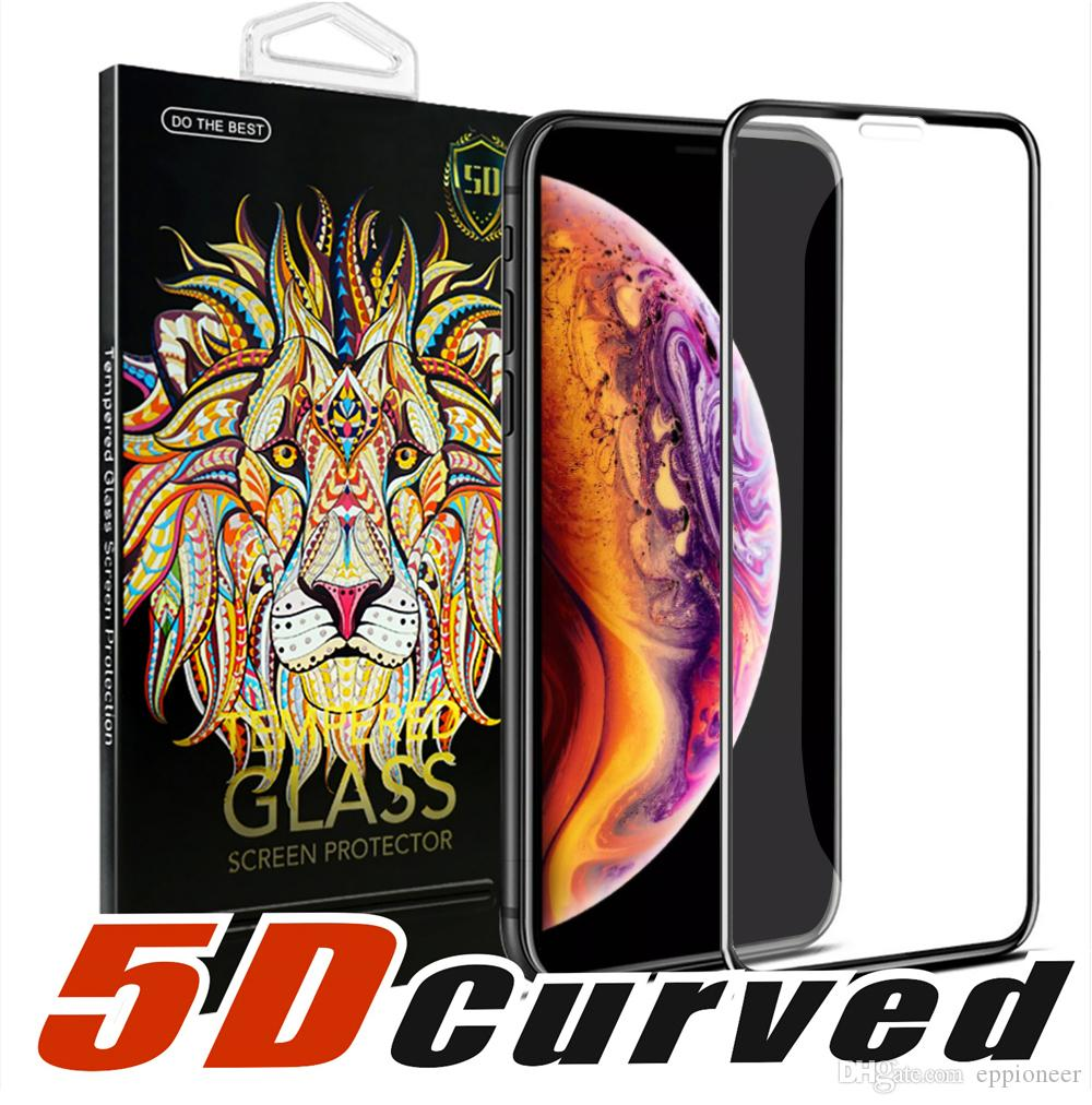 5D Curved Full Cover Tempered Glass Screen ProtectorFor NEW Iphone XR XS MAX Full Cover Film 3D Edge Screen Protector For Iphone 6 7 8 Plus