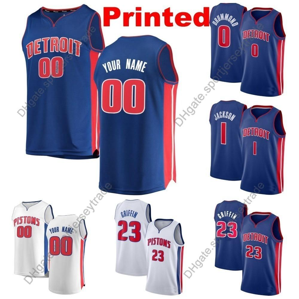 939dacce162 2019 2019 Printed Mens Detroit Blake Griffin Pistons Reggie Jackson Andre  Drummond Kalin Lucas Thon Maker Khyri Thomas Edition Basketball Jersey From  ...