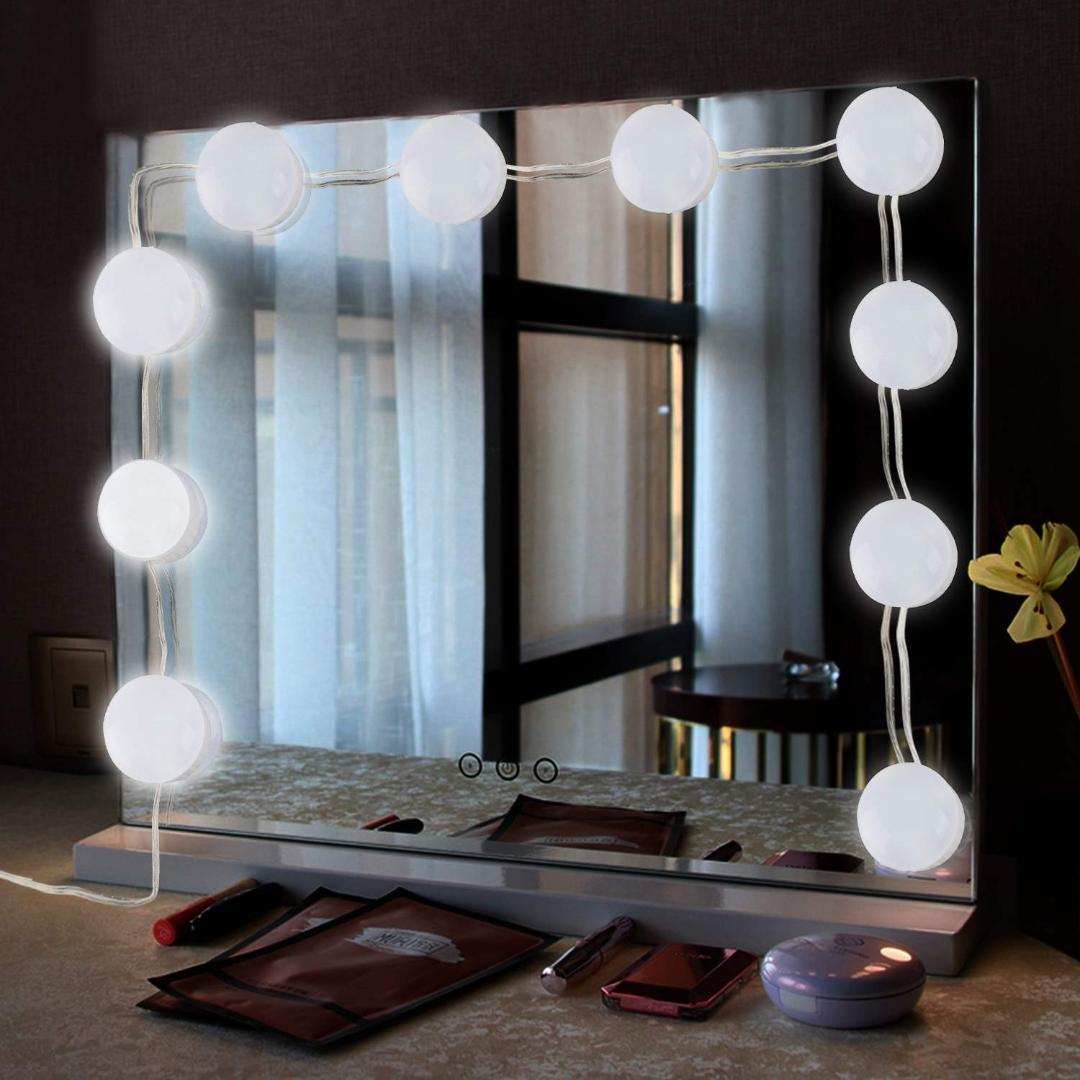2019 Portable 10 Led Vanity Makeup Mirror Lights Kit With Dimmable