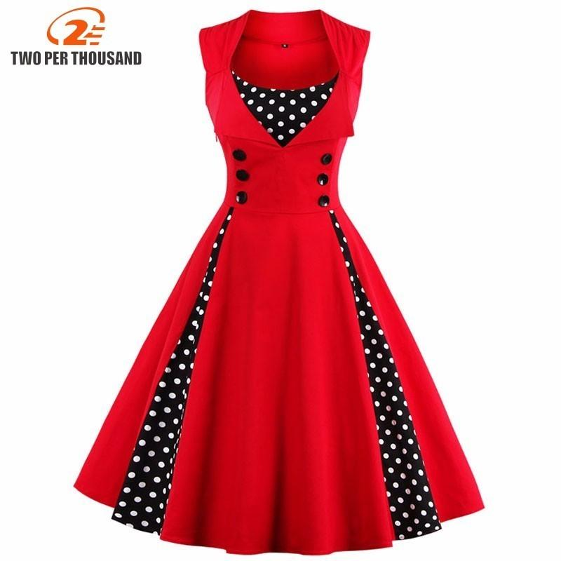 3afac52da2476 S-5XL Women Robe Pin Up Dress Retro 2018 Vintage 50s 60s Rockabilly ...