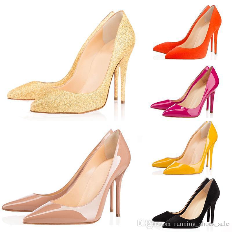 9b3ae47608 Compre Tamanho 35 42 Designer Vestido Sapatos Assim Kate Styles Sapatos De  Salto Alto Red Bottoms Luxo 8 CM 10 CM 12 CM Couro Genuíno Dedo Apontado  Bombas ...