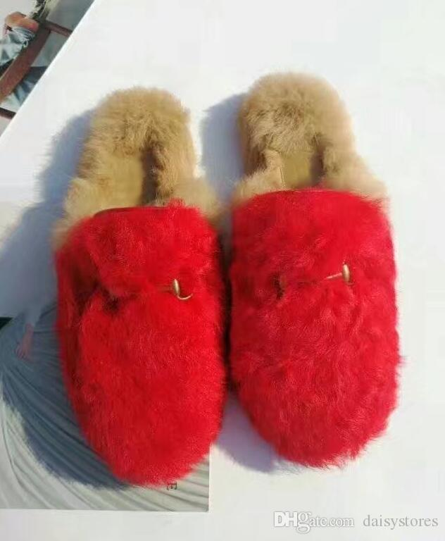 Hair Slippers Fur Furry Slide Flip Flops Women Home Slippers Female Sweet Fenty Indoor Soft Comfotable 35-42
